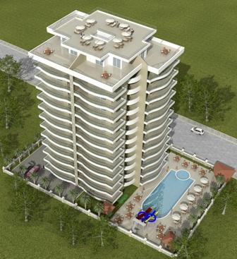 Penthouse leilighet Mahmutlar med fantastisk havutsikt. 70 kvm takterrasse.